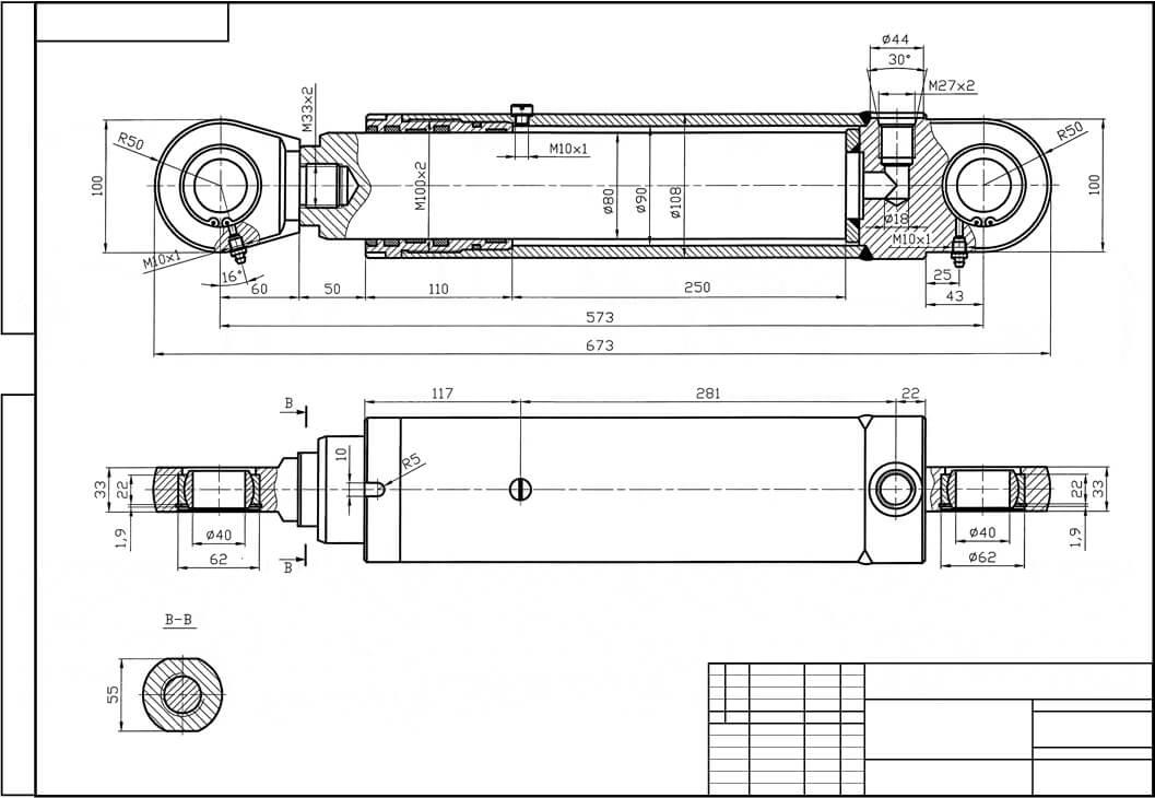 Hydraulic cylinder drawing